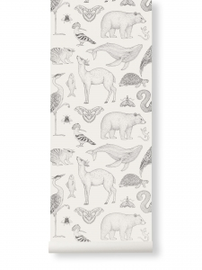 Tapeta Animal Katie Scott by Ferm Living - czarno-biała + klej gratis
